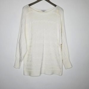Liz Claiborne Cable Knit Dolman Sweater Ivory XL